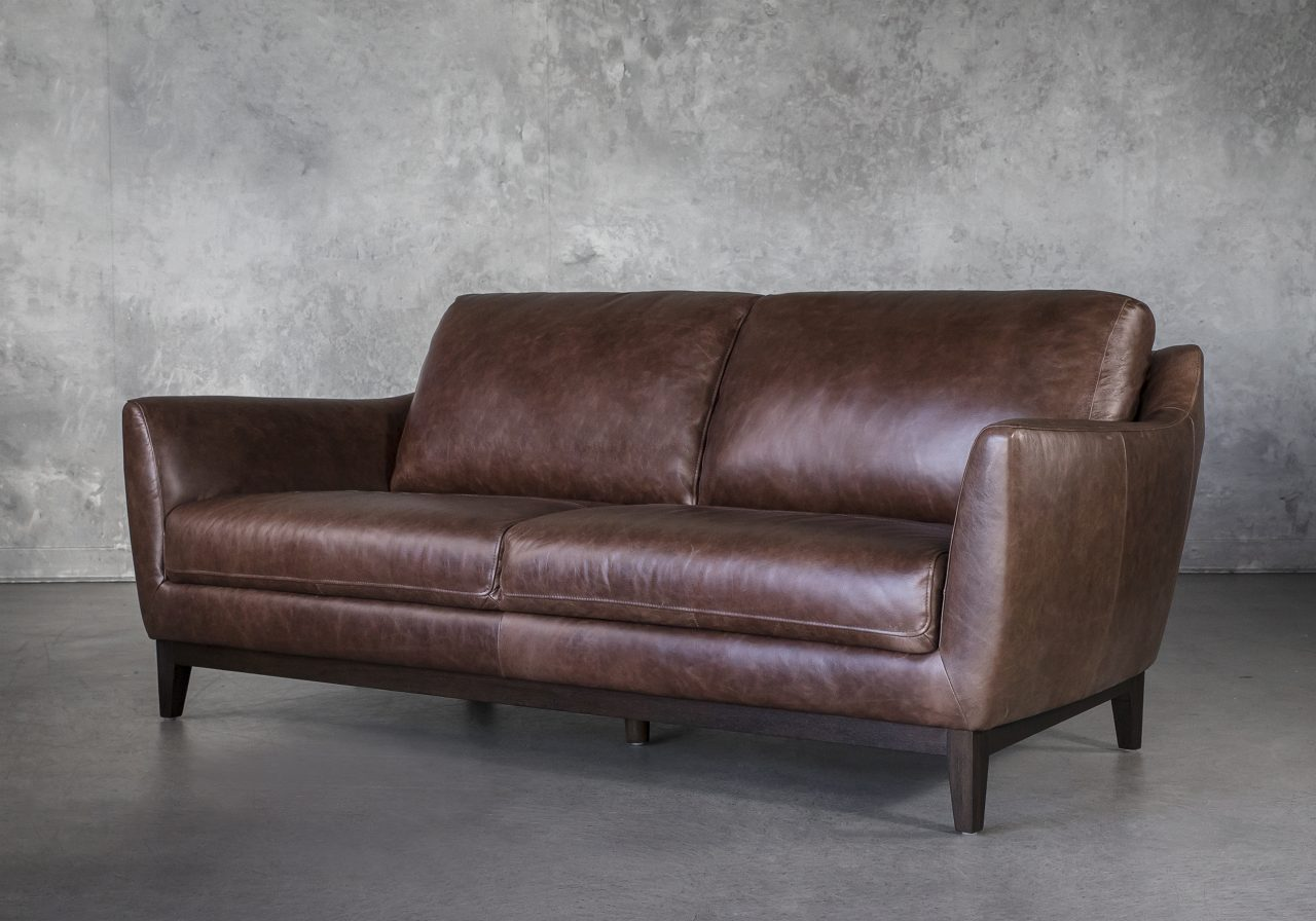 Seth Sofa in Brown Leather, Angle