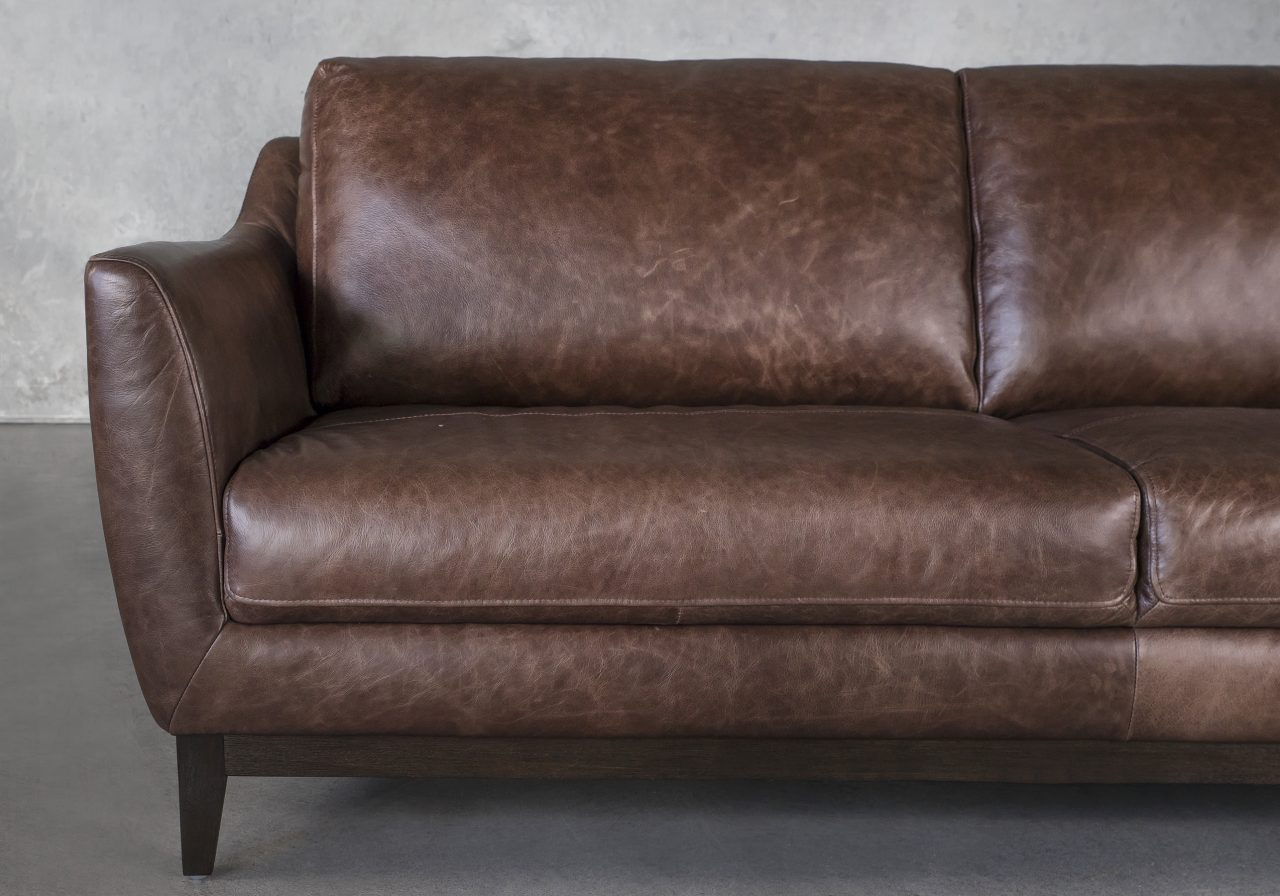 Seth Sofa in Brown Leather, Close Up