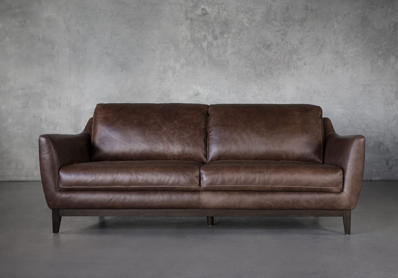 Seth Sofa in Brown Leather, Front