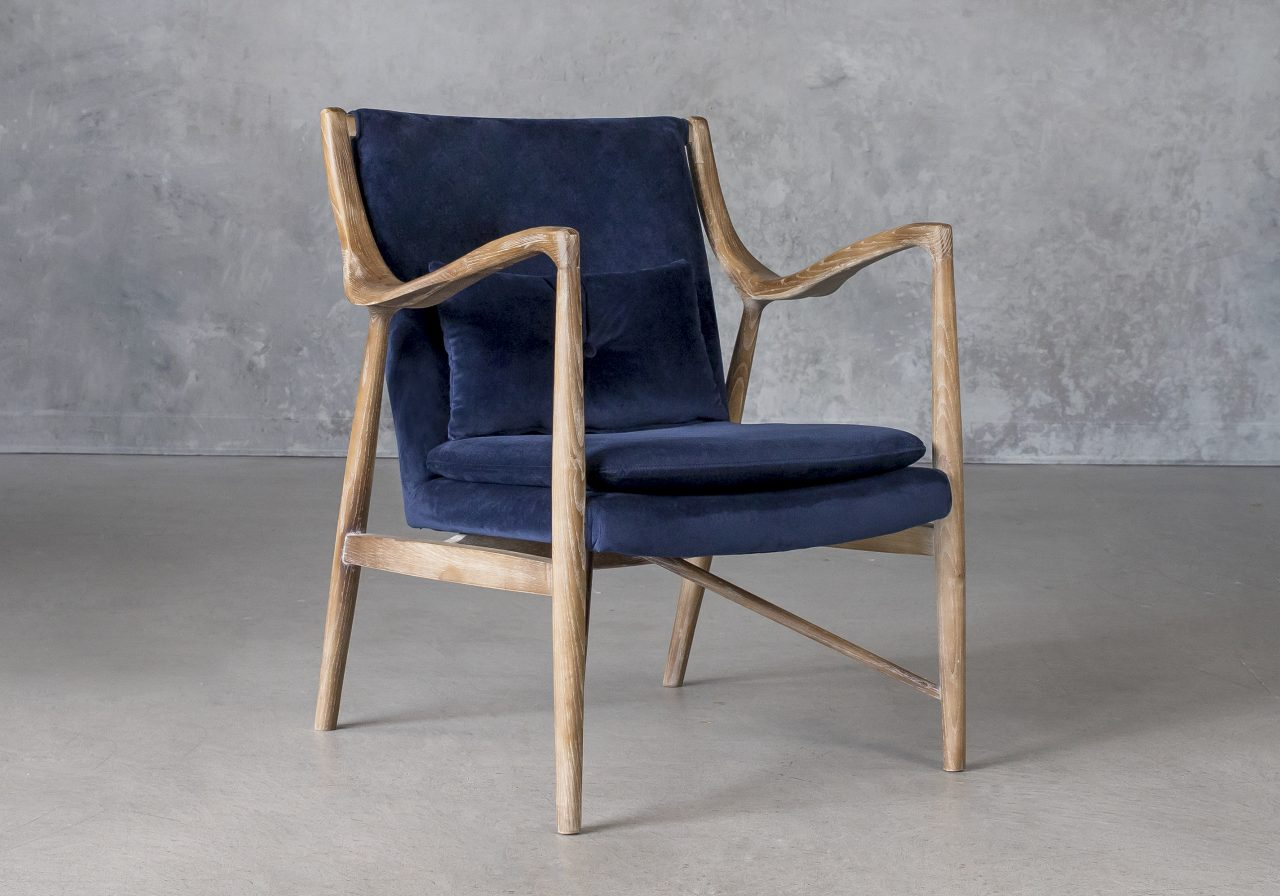 Silvia Chair in Blue Fabric, Angle