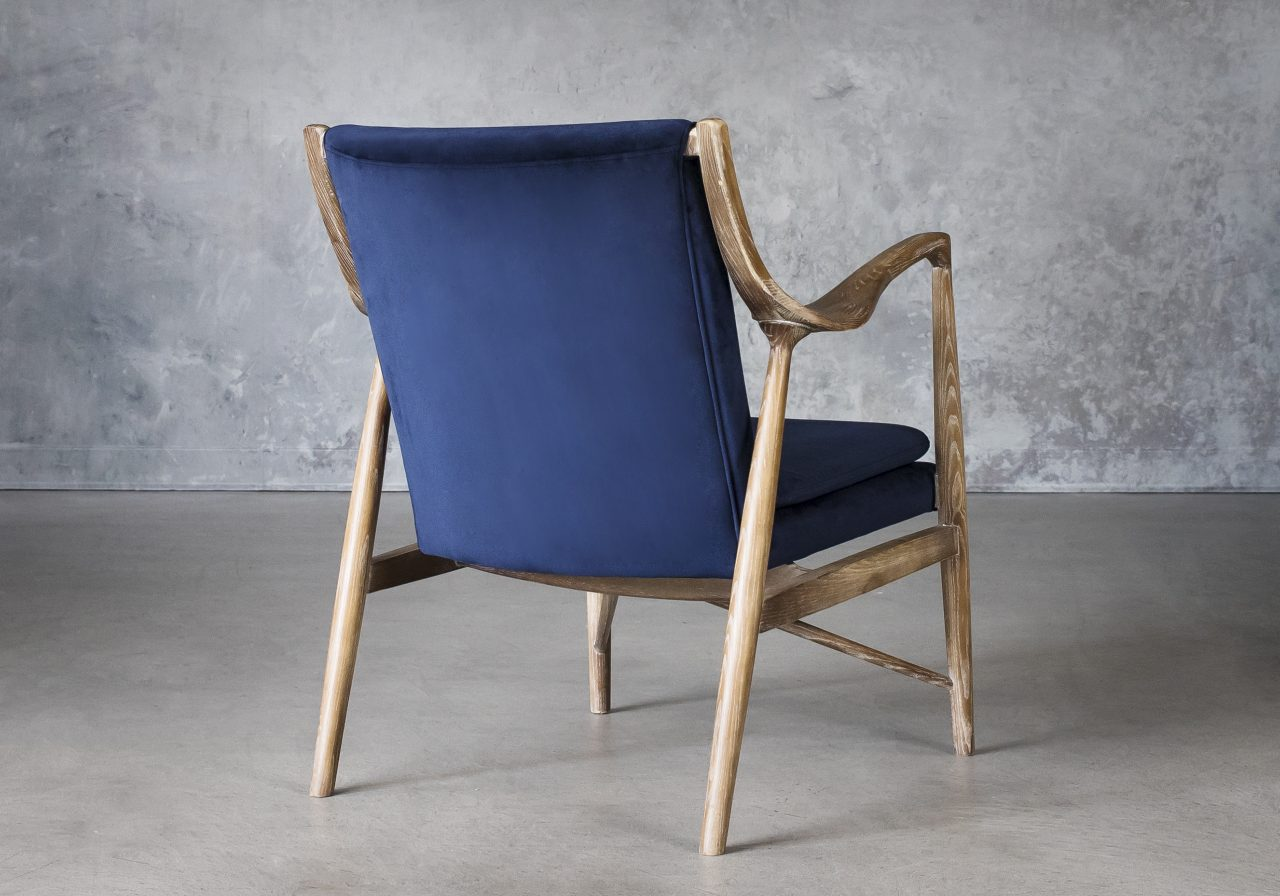 Silvia Chair in Blue Fabric, Back