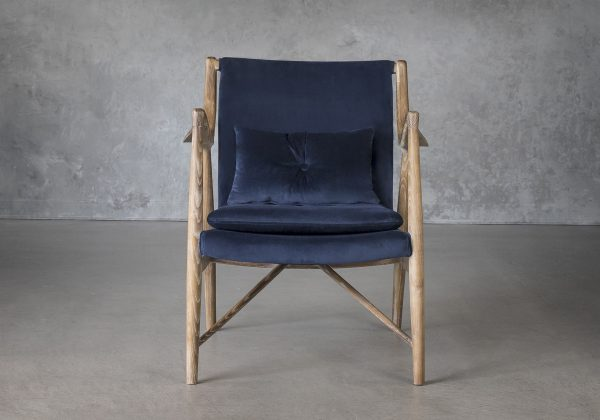 Silvia Chair in Blue Fabric, Front