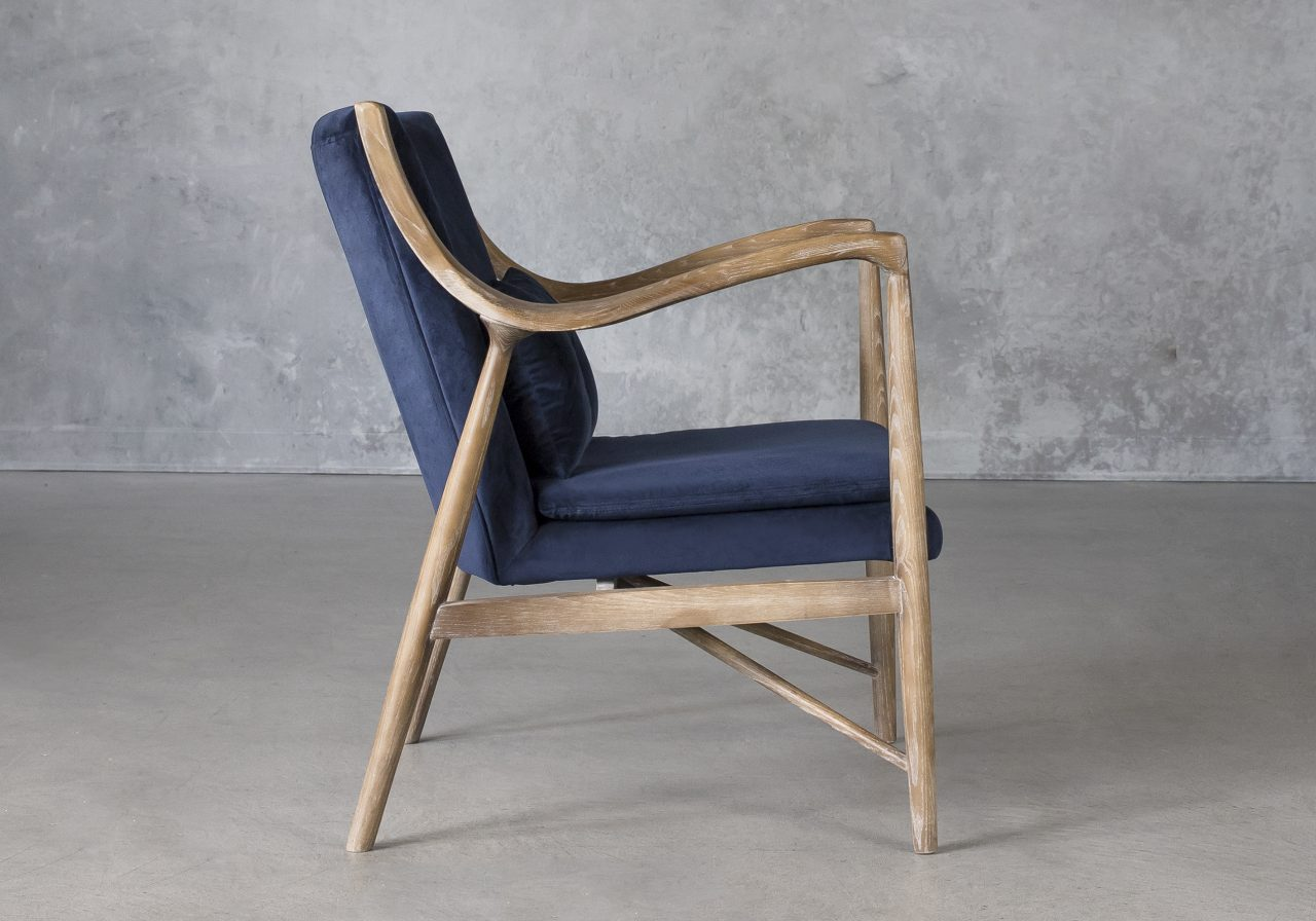 Silvia Chair in Blue Fabric, Side
