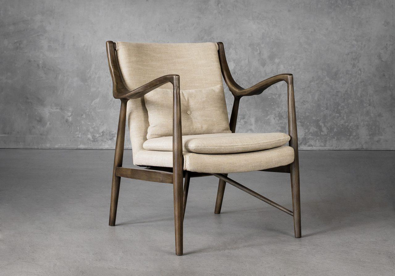 Silvia Chair in Herringbone Fabric, Angle