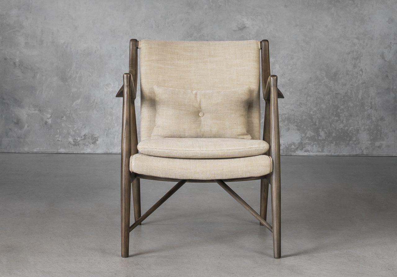 Silvia Chair in Herringbone Fabric, Front