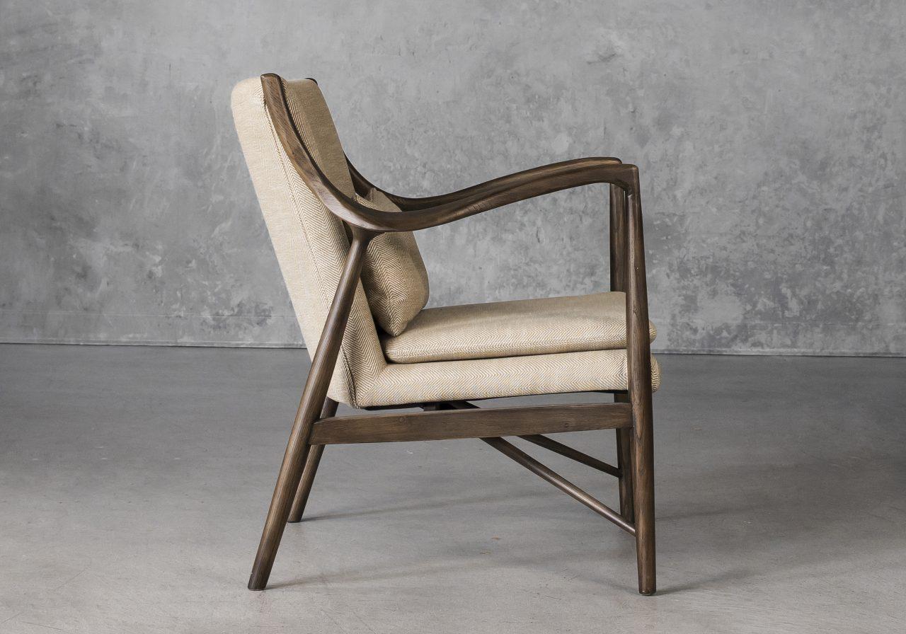 Silvia Chair in Herringbone Fabric, Side