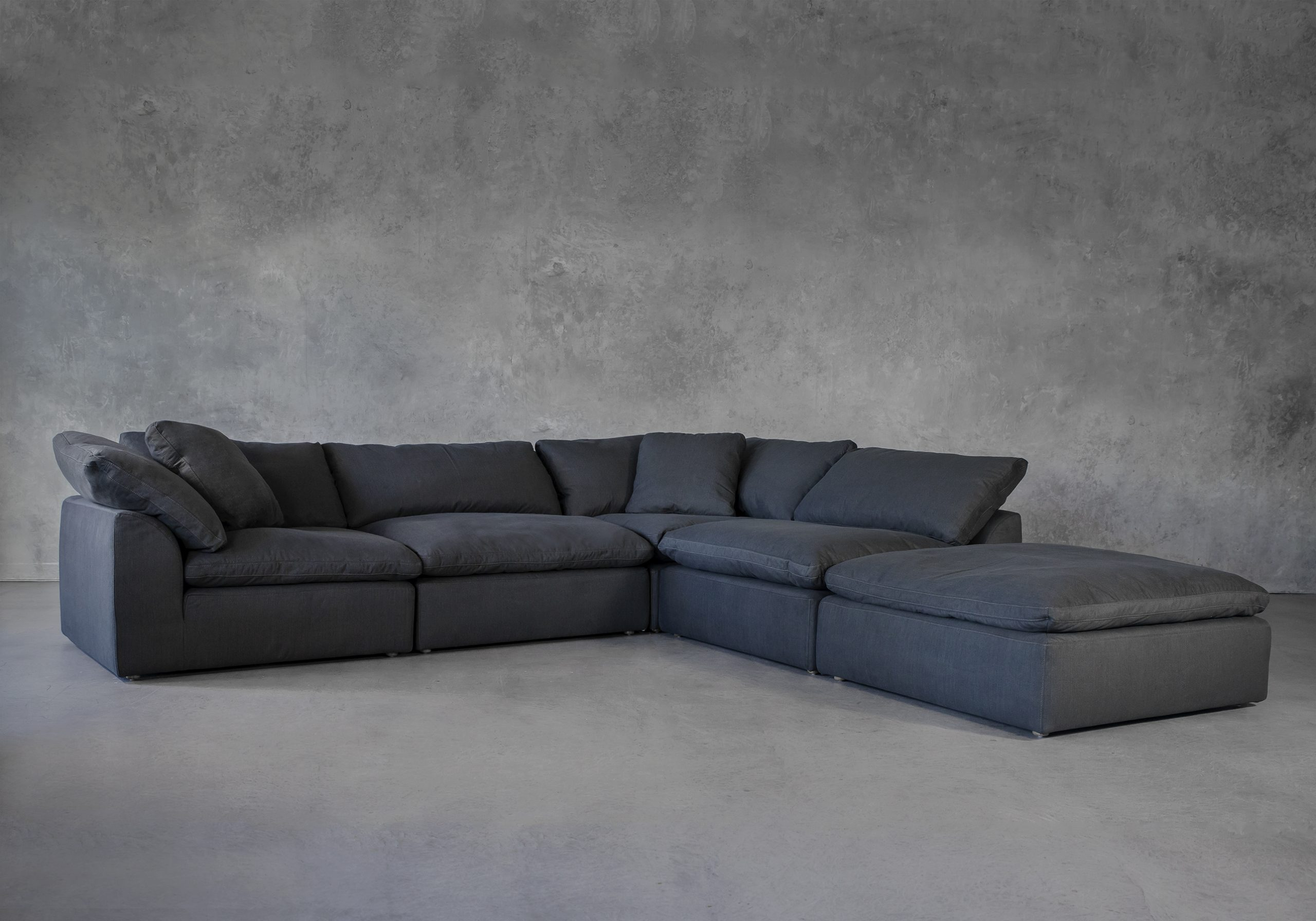 Tofino Sectional in Pepper Fabric, Angle