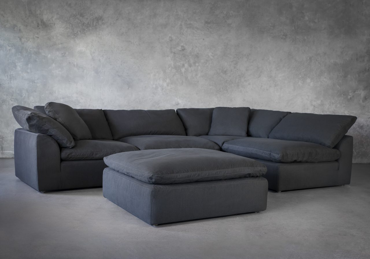 Tofino Sectional in Pepper Fabric, Ottoman