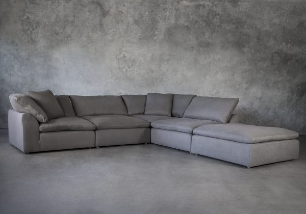 Tofino Sectional in Slate Fabric, Angle