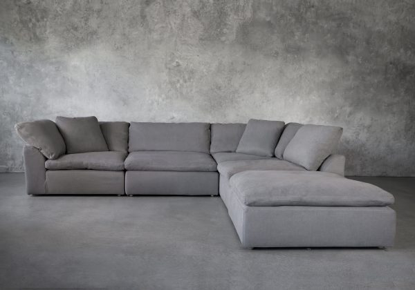 Tofino Sectional in Slate Fabric, Front