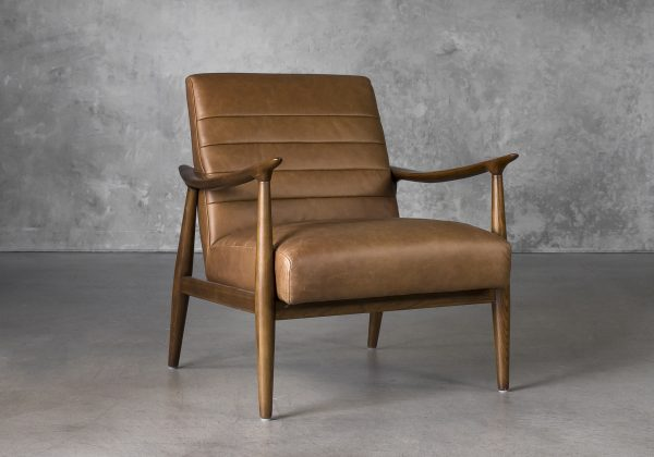 Trevor Chair in Camel Leather, Angle