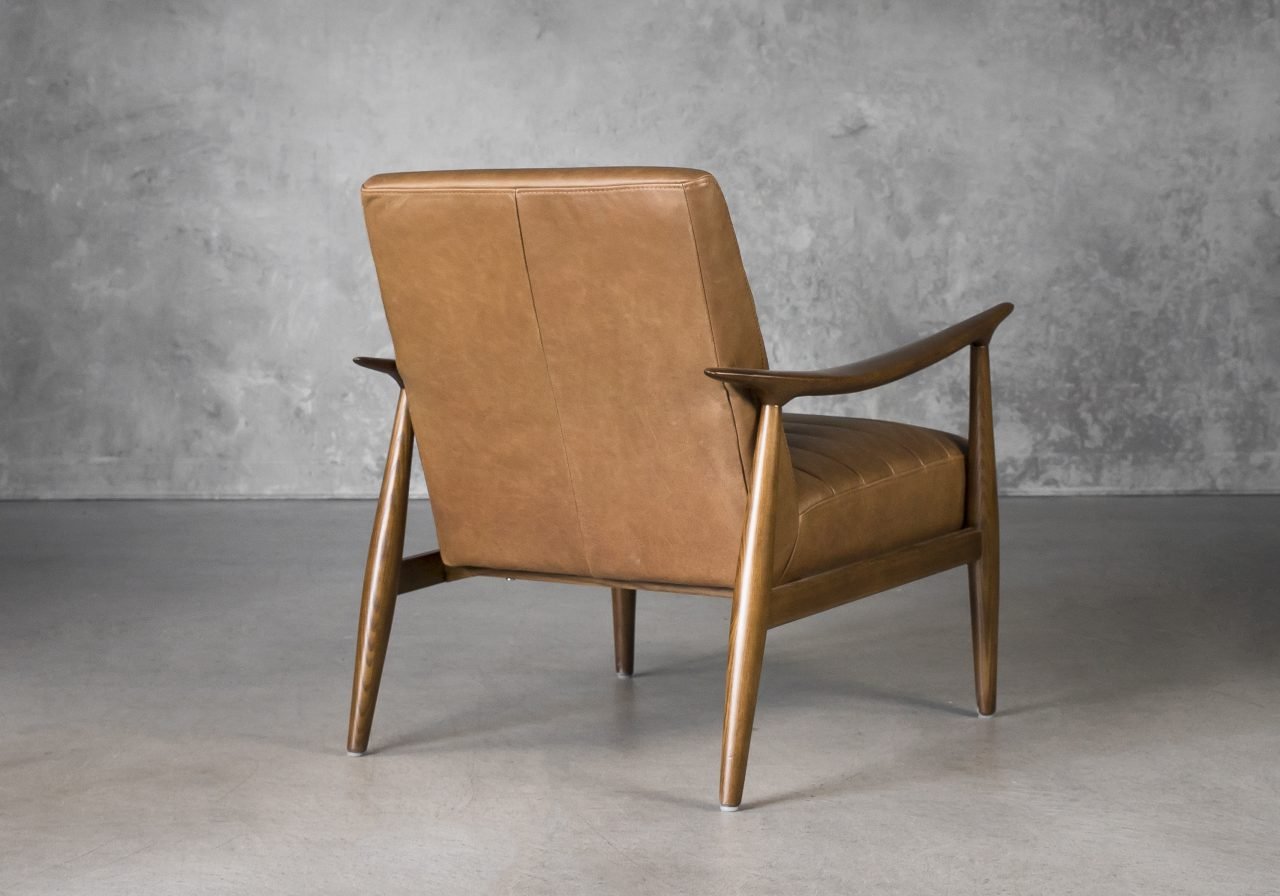 Trevor Chair in Camel Leather, Back