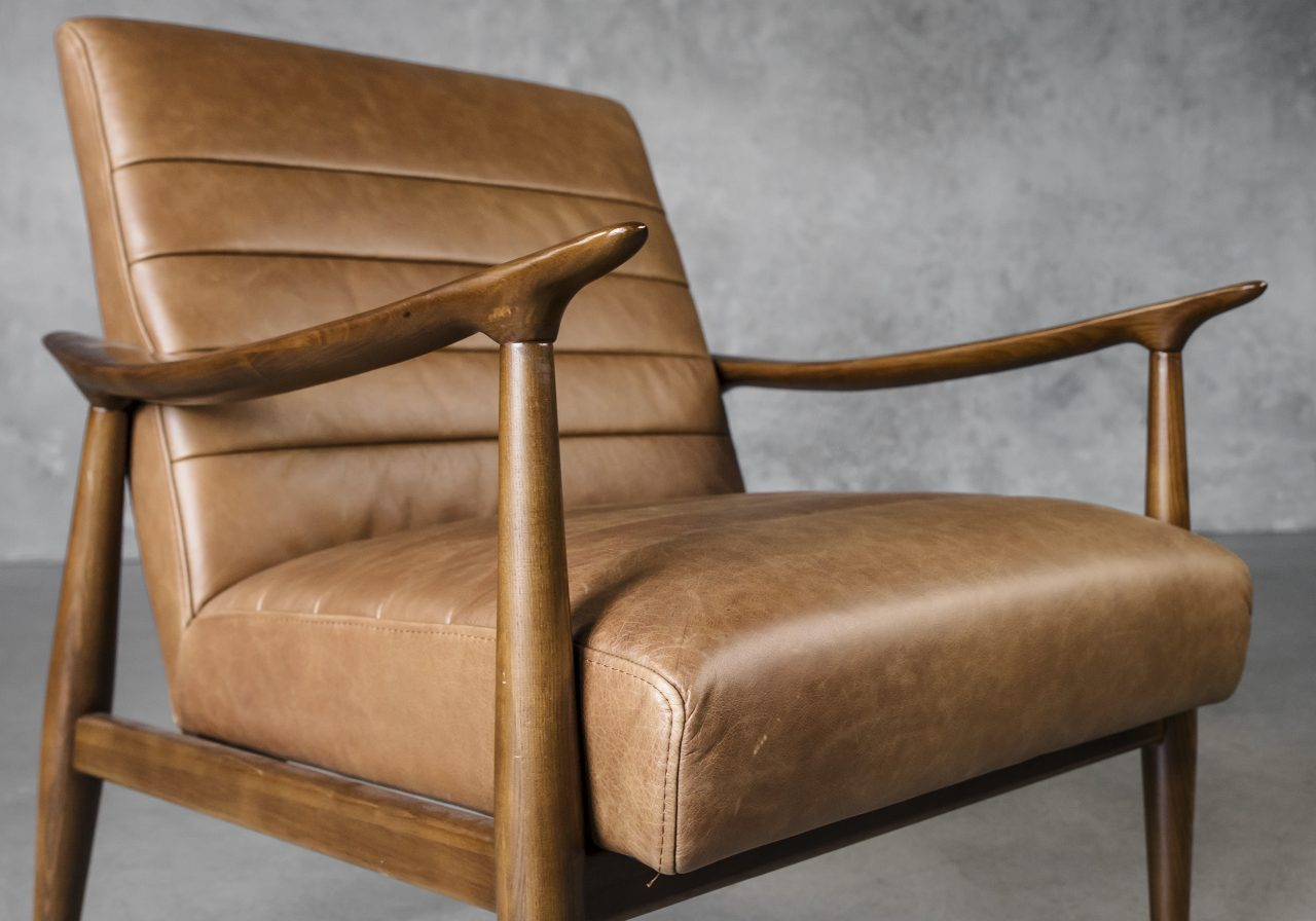 Trevor Chair in Camel Leather, Close Up