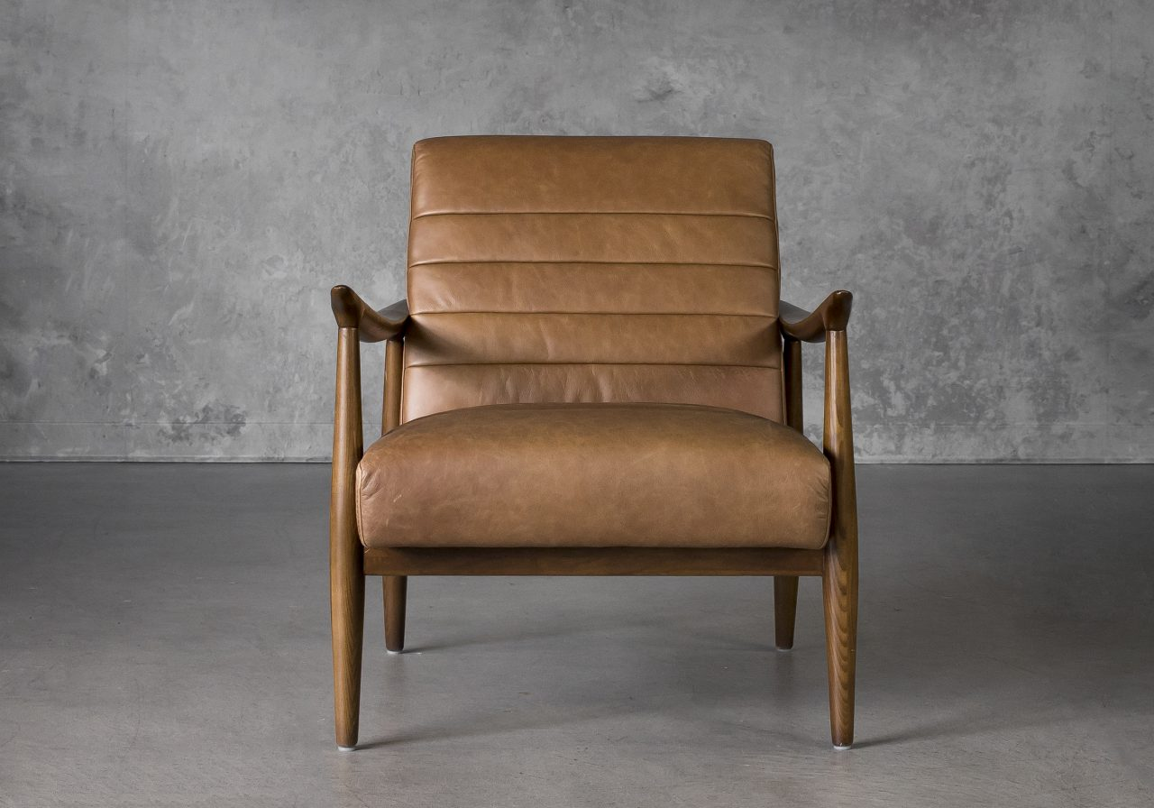 Trevor Chair in Camel Leather, Front