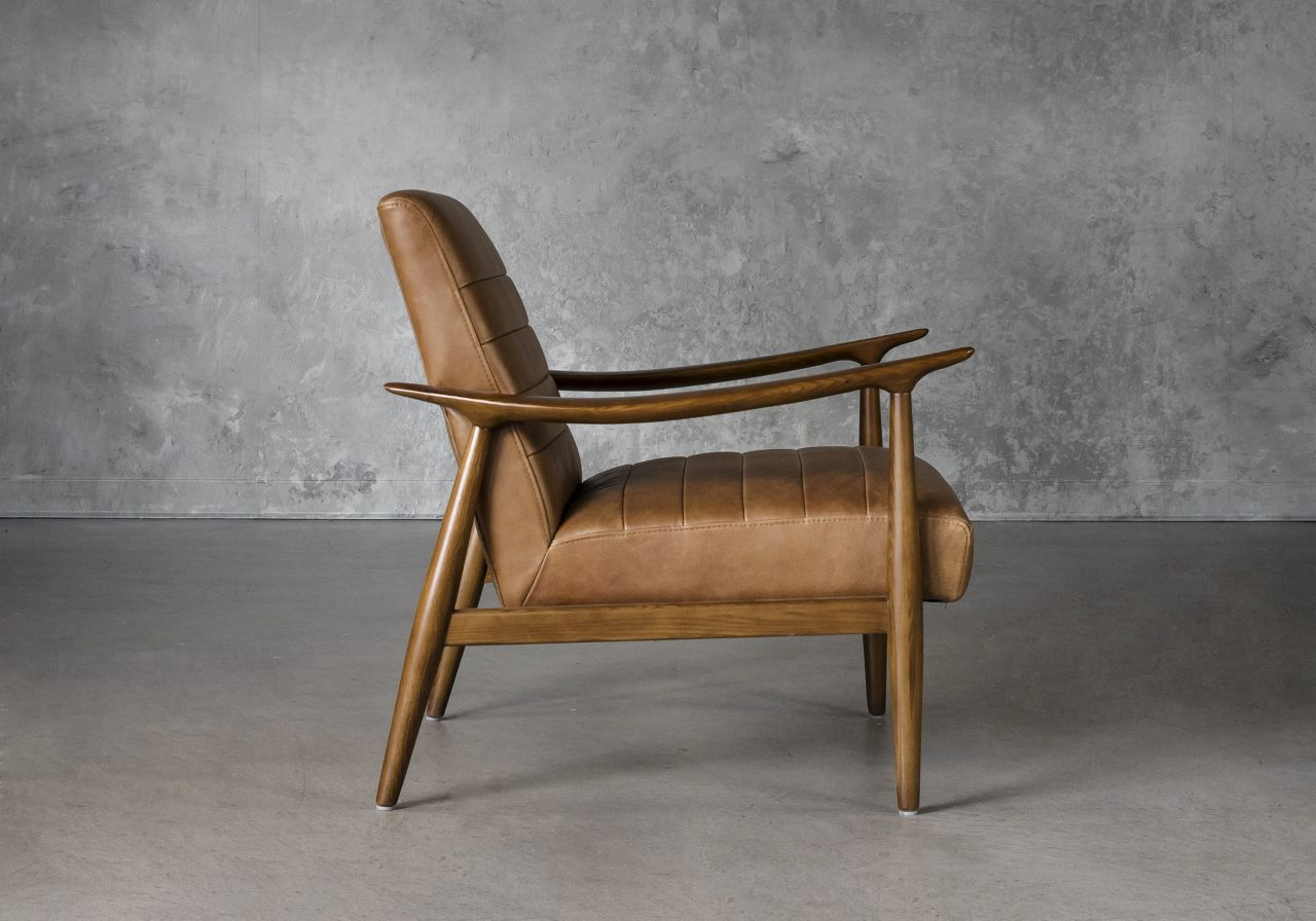 Trevor Chair in Camel Leather, Side