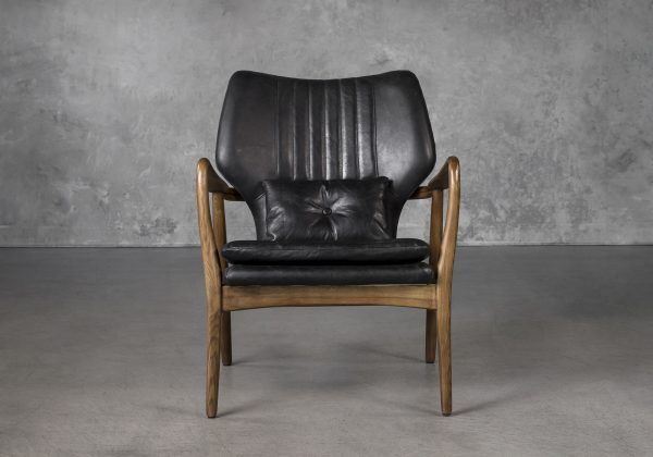 William Chair in Black Leather, Front