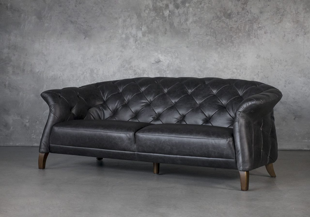 Ava Loveseat in Black Leather, Angle