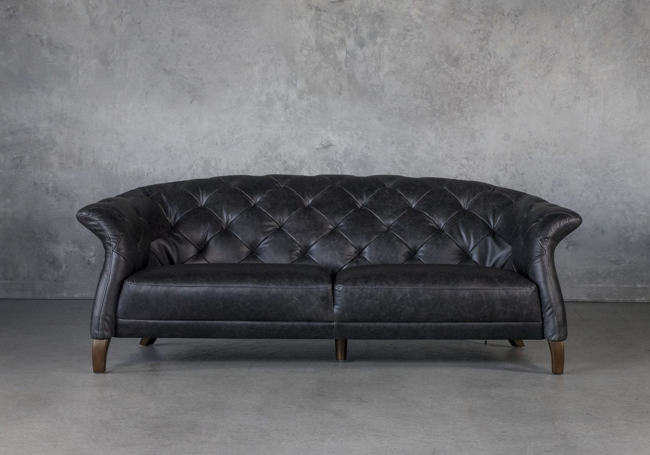 Ava Loveseat in Black Leather, Front