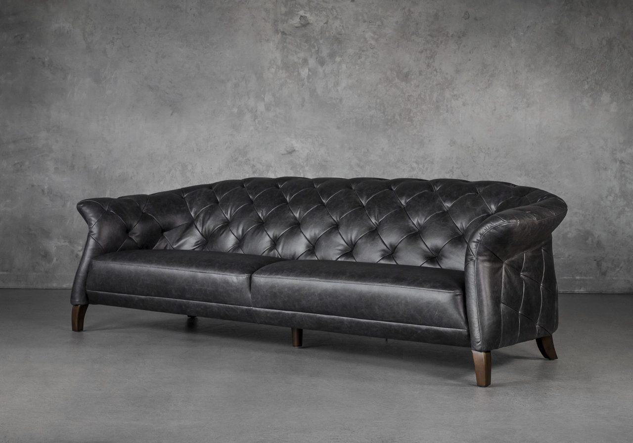 Ava Sofa in Black Leather, Angle