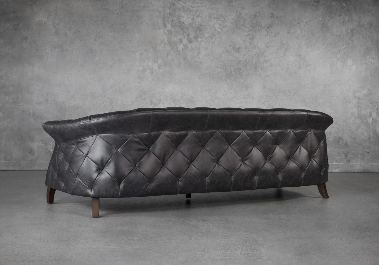 Ava Sofa in Black Leather, Back