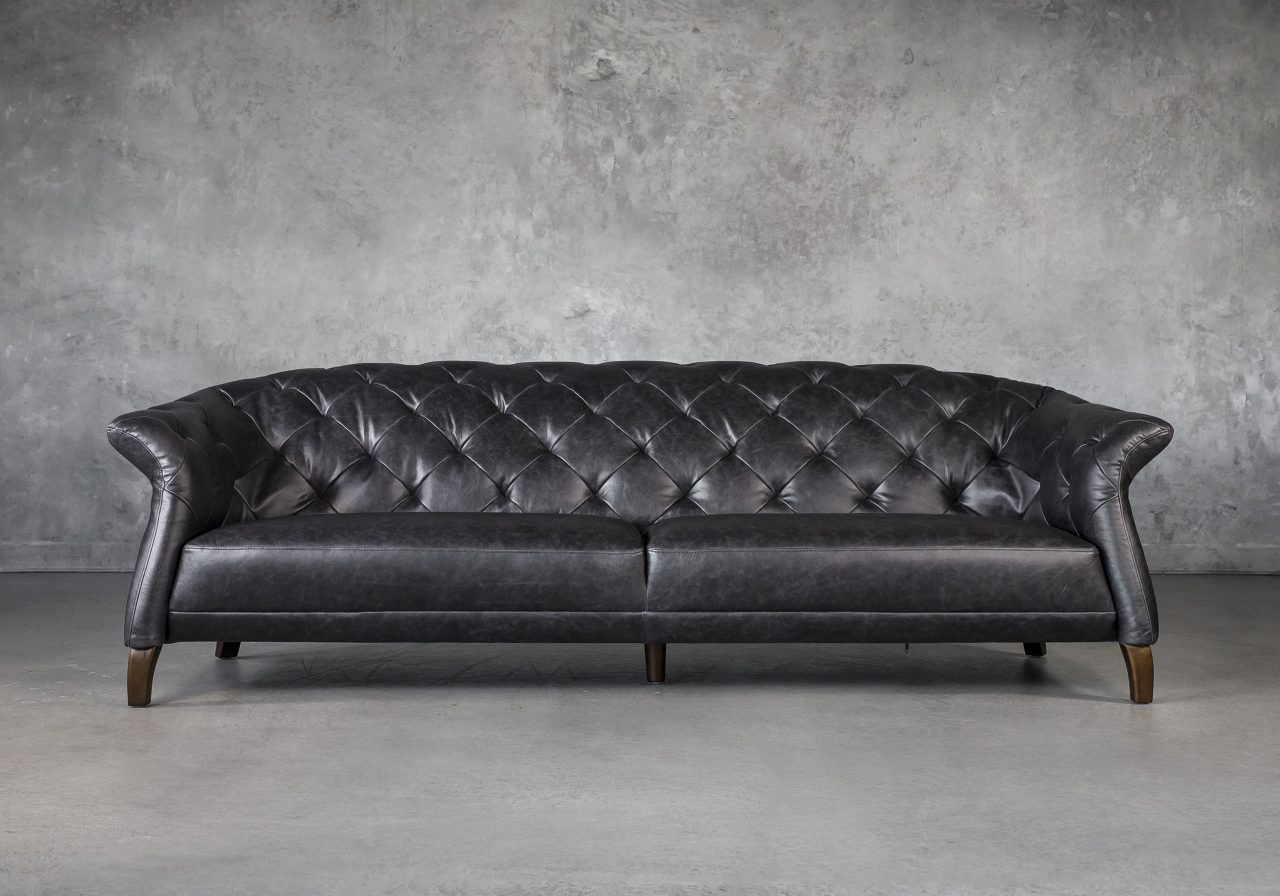 Ava Sofa in Black Leather, Front