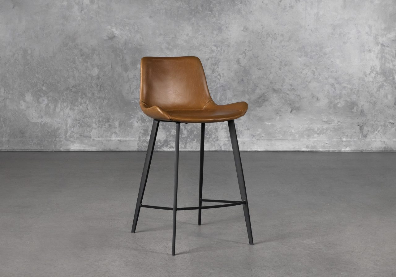 Hype Counter Stool in Vintage Light Brown, Angle