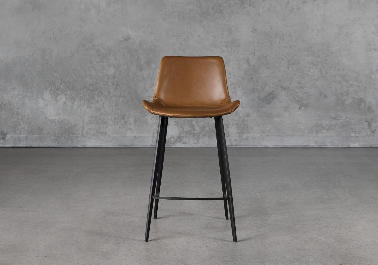 Hype Counter Stool in Vintage Light Brown, Front