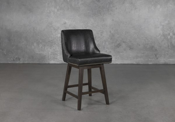 Jack Swivel Counter Stool in Black, Angle