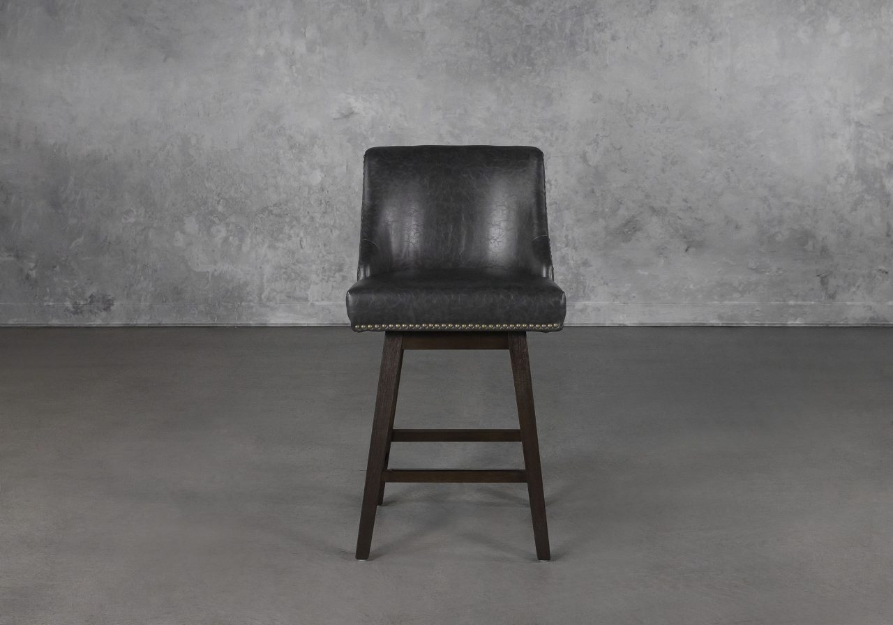 Jack Swivel Counter Stool in Black, Front