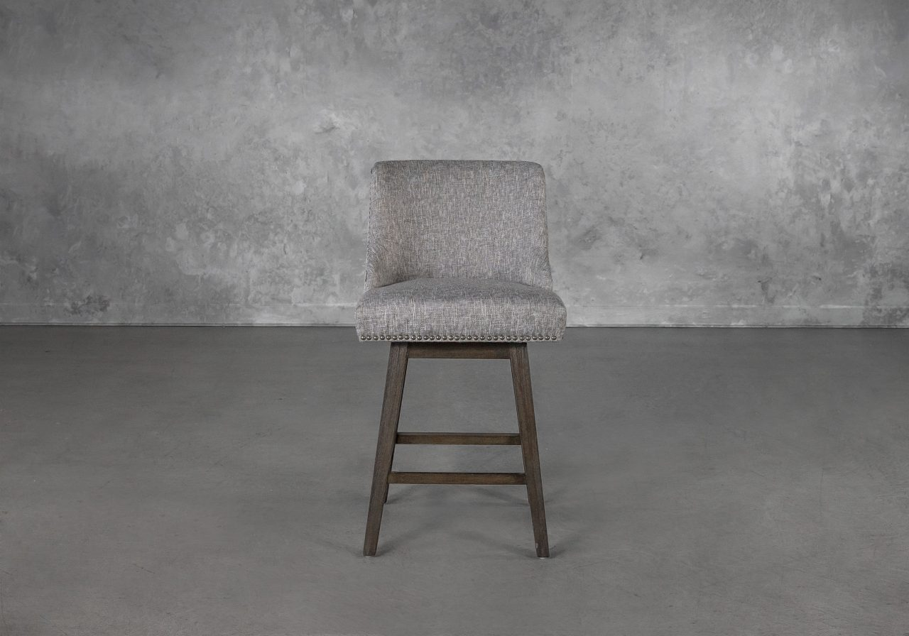 Jack Swivel Counter Stool in Grey B543 Fabric, Front