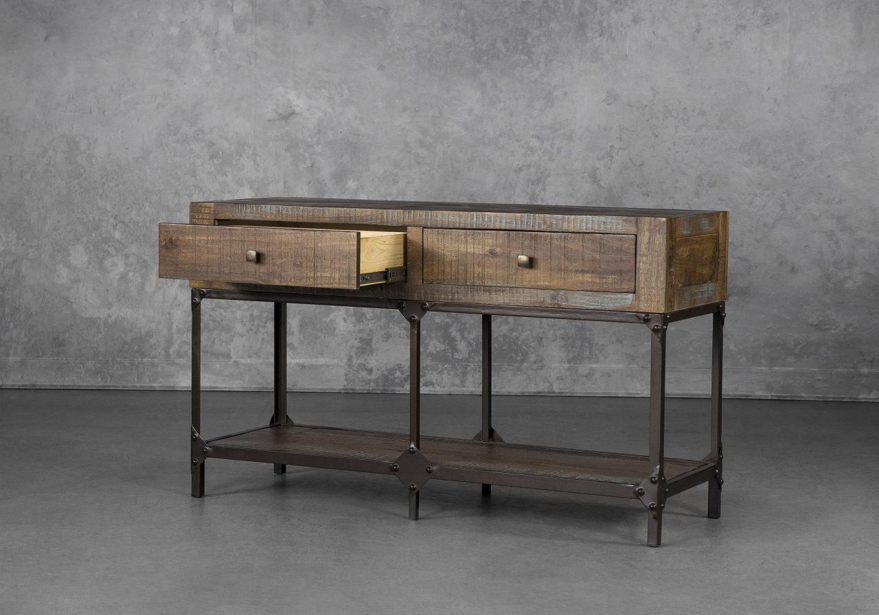 La Paz Console Table, Angle, Drawer Open