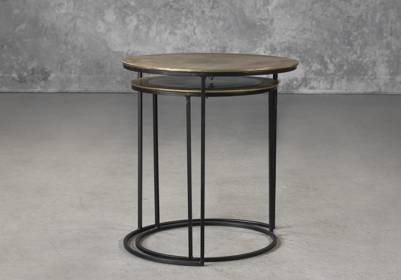 Latina End Table in Brass, Front
