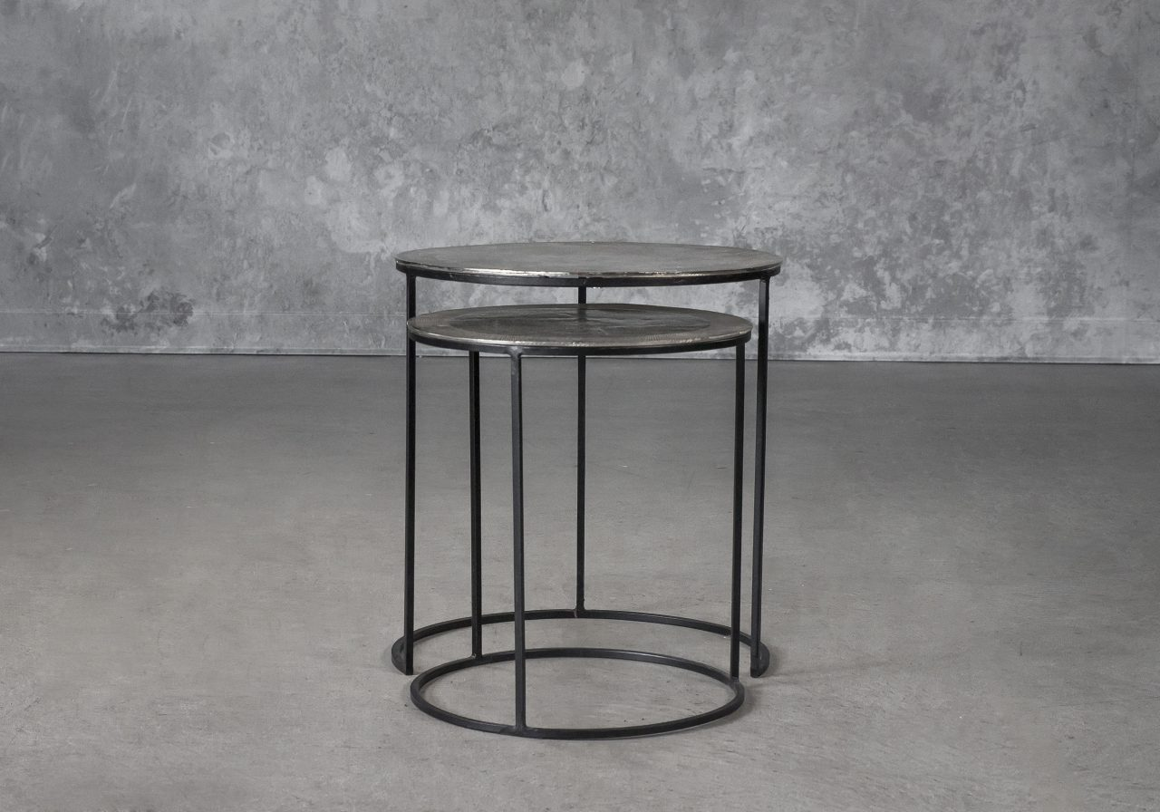 Latina End Table in Nickel, Front