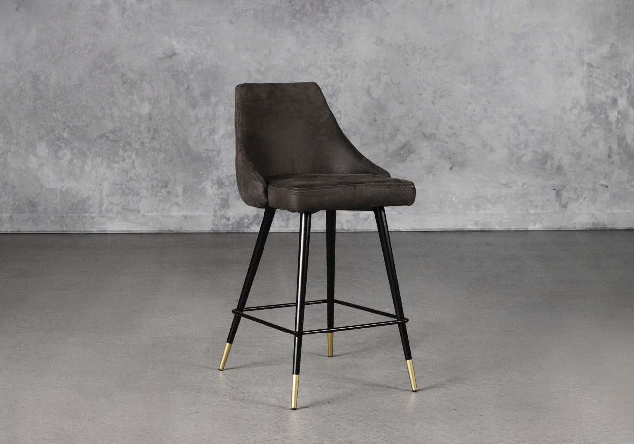 Norman Counter Stool in Charcoal, Angle