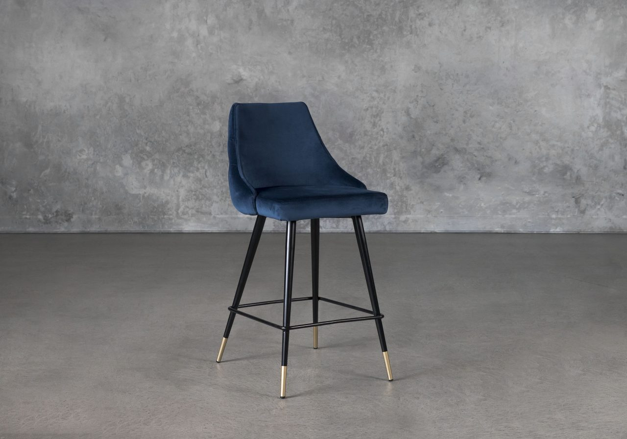 Norman Counter Stool in Navy, Angle