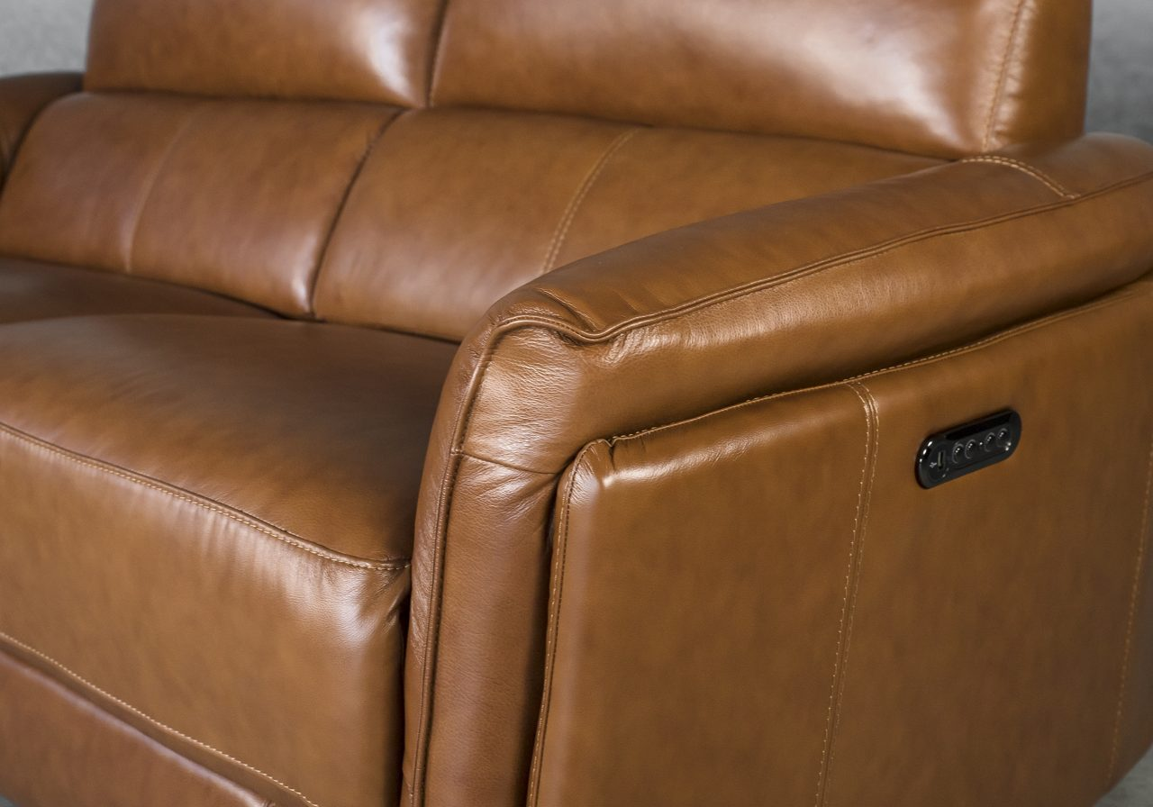 Clark Sofa and Power Recliner, Angle and Buttons