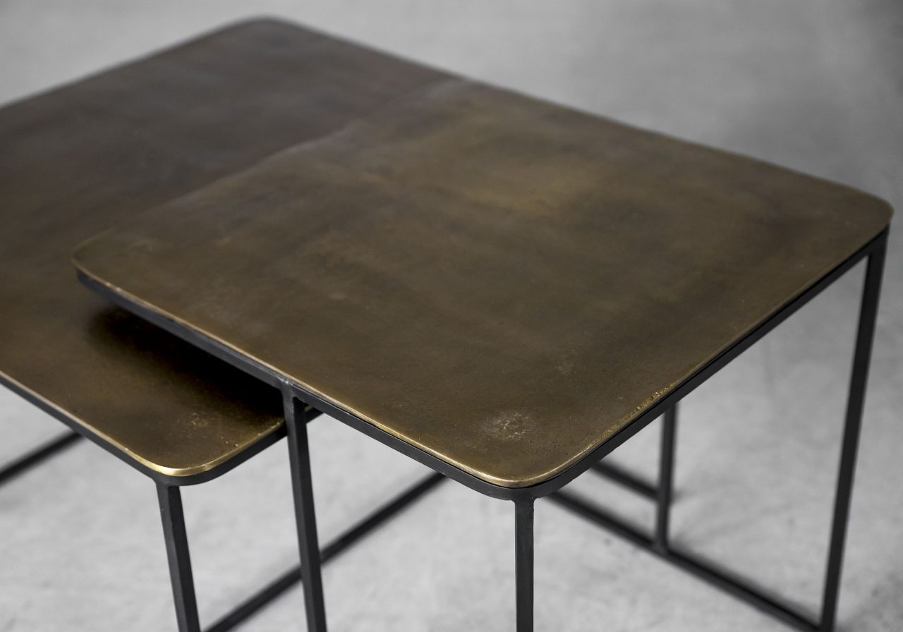 Vika End Tables in Antique Brass, Top