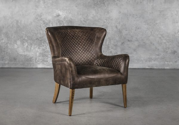 Alex Chair in Brown Leather, Angle