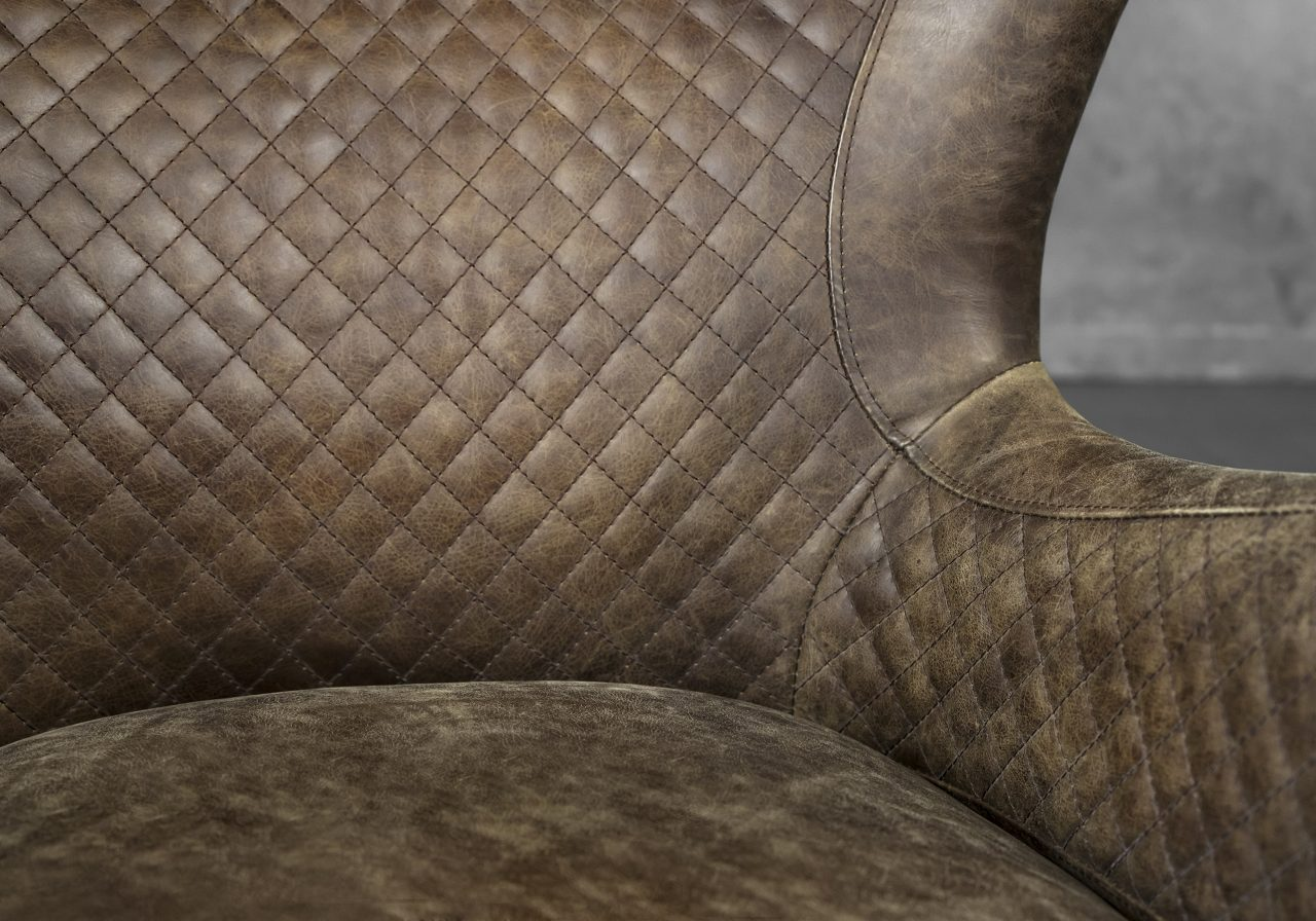Alex Chair in Brown Leather, Close Up