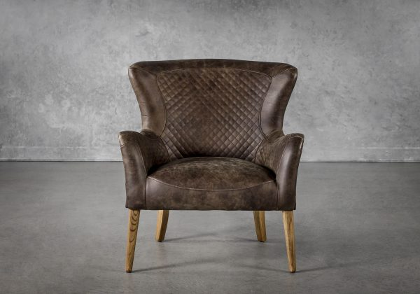 Alex Chair in Brown Leather, Front