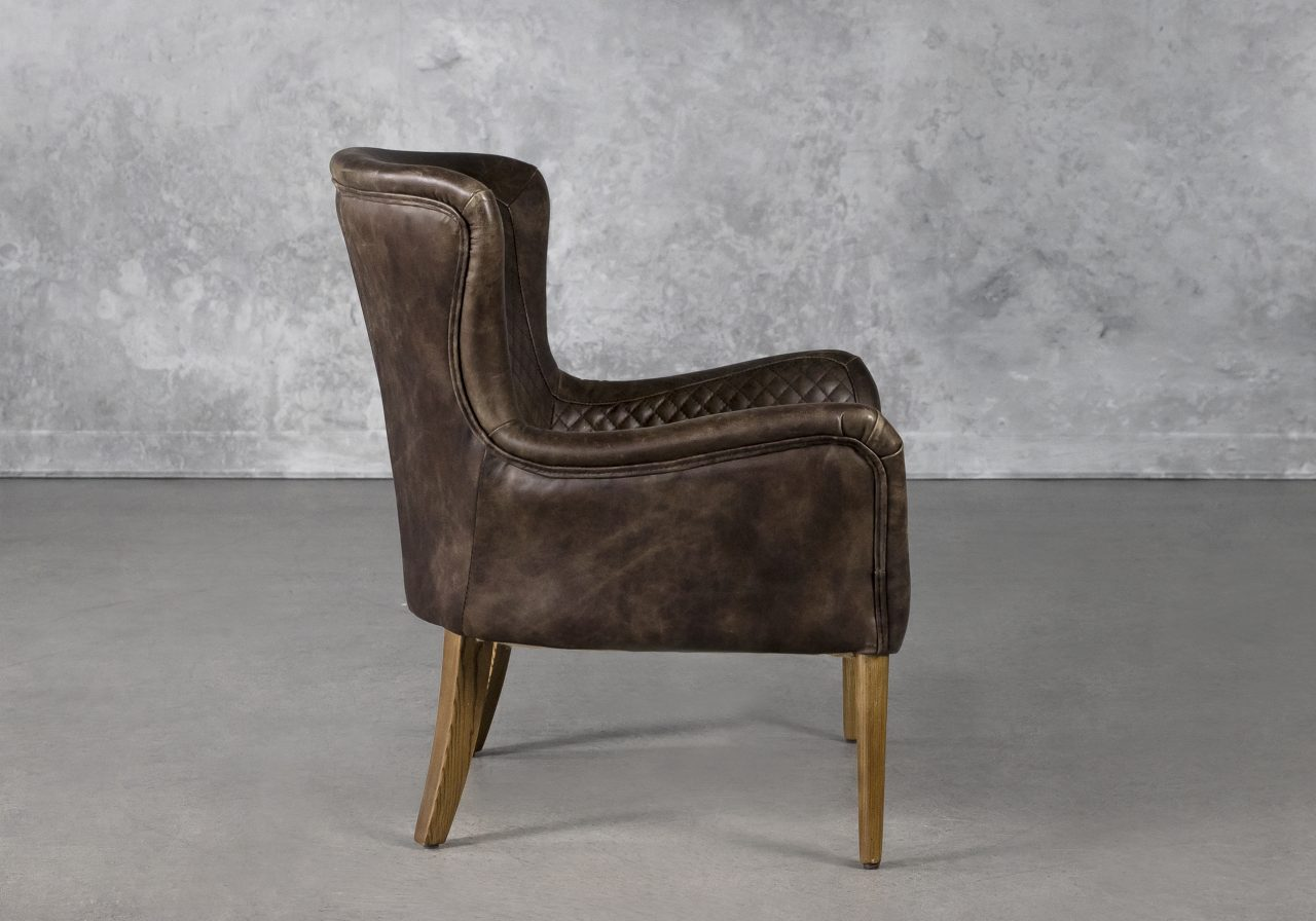 Alex Chair in Brown Leather, Side
