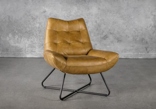 Joe Chair in Cognac Leather, Angle