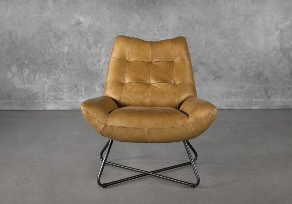 Joe Chair in Cognac Leather, Front
