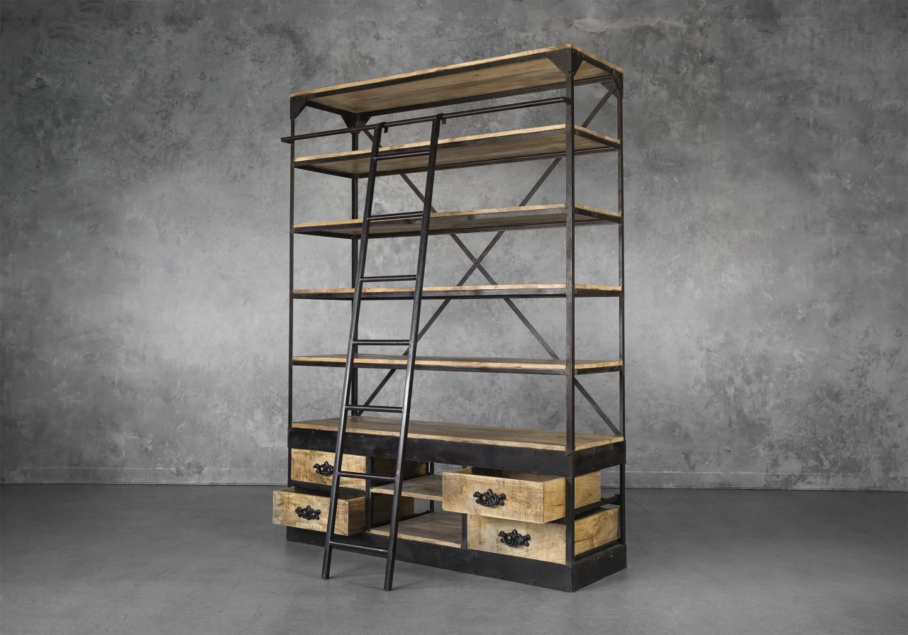 Library Bookcase, Angle, Ladder