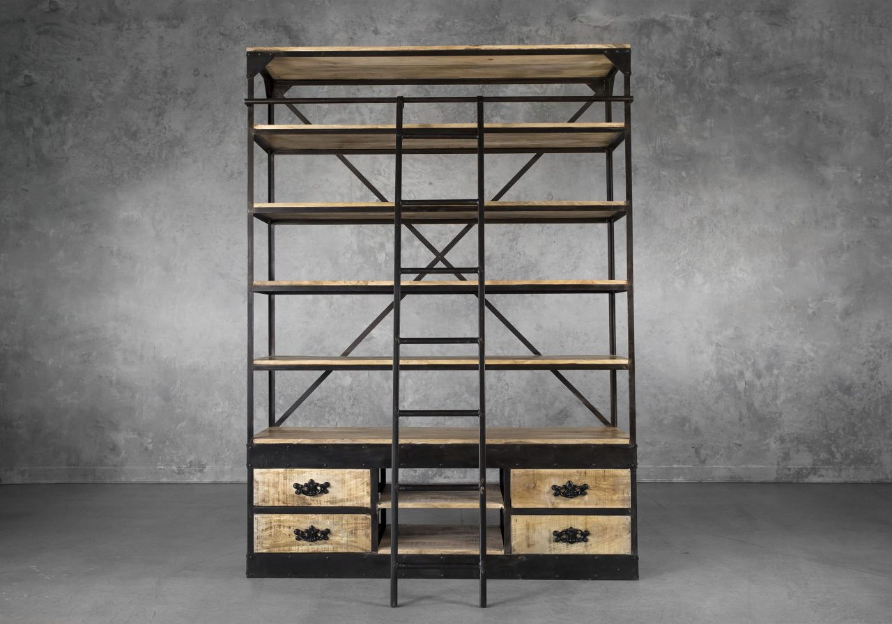 Library Bookcase, Front, Ladder