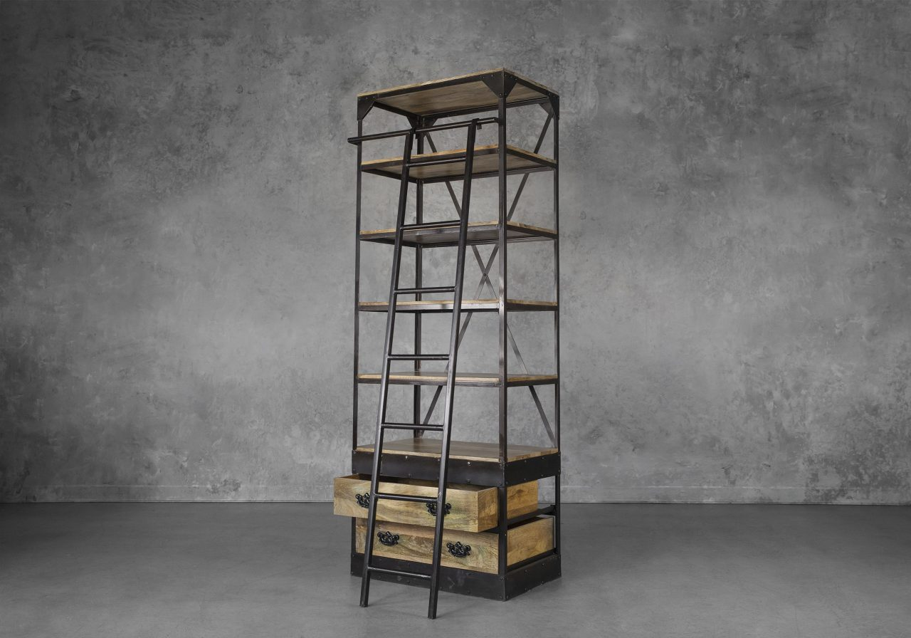 Library Small Bookcase, Angle, Ladder