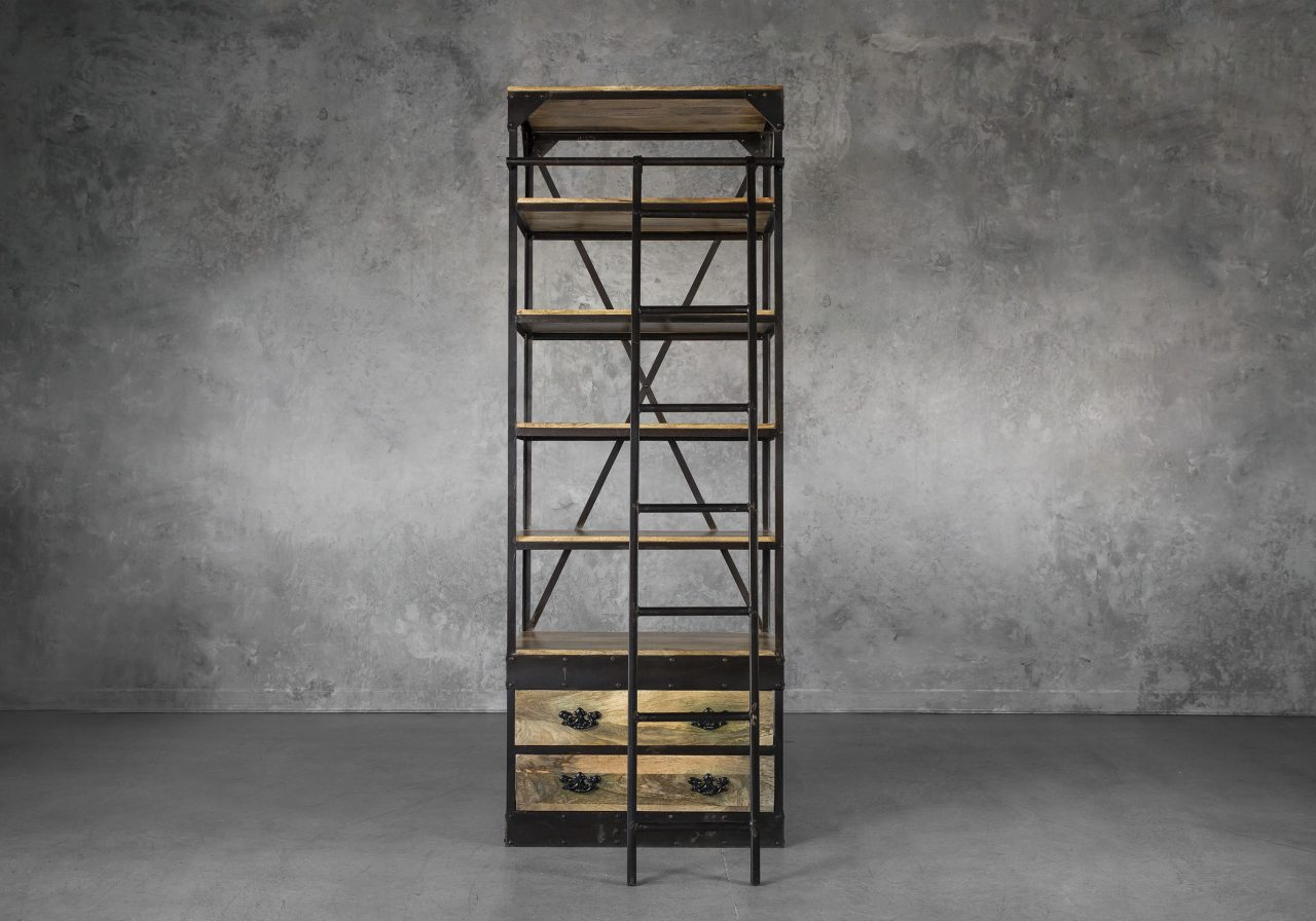 Library Small Bookcase, Front, Ladder