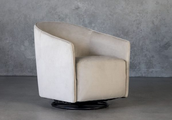 Milner Swivel Chair in Beige, Angle