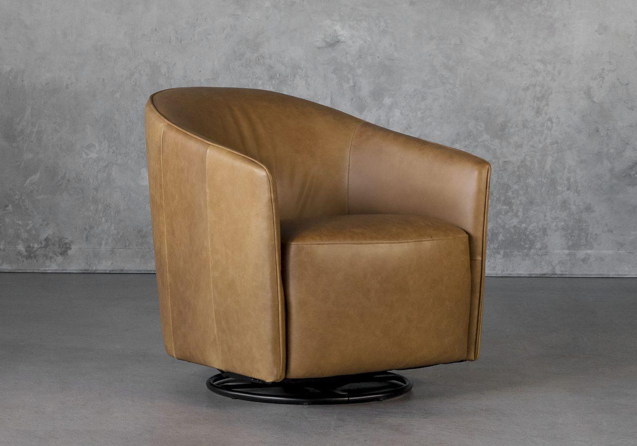 Milner Swivel Chair in L. Camel, Angle