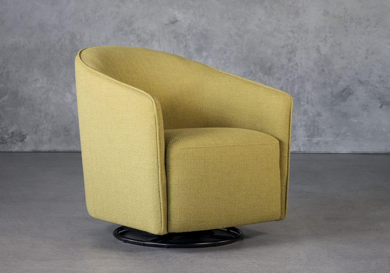 Milner Swivel Chair in Lemongrass, Angle